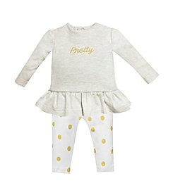 Wendy Bellissimo® Baby Girls' 3-12M Pretty Top With Dot Legging Set