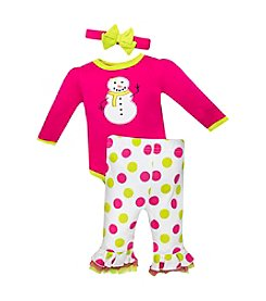 Baby Essentials® Baby Girls' 3-12M Snowgirl Bodysuit Pant Set