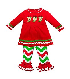 Baby Essentials® Baby Girls' 3-12M Comet, Cupid, And Blitzen Chevron Pant Set