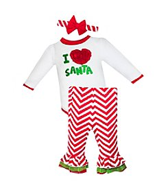 Baby Essentials® Baby Girls' 3-12M I (Heart) Santa Chevron Pant Set