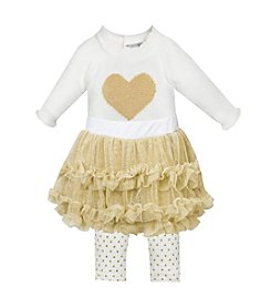 Wendy Bellissimo® Baby Girls' 3-12M Knit Heart Ruffle Tutu Pant Set