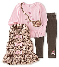 Kids Headquarters® Girls' 2T-6X Animal Print Vest With Purse Top And Pants Set