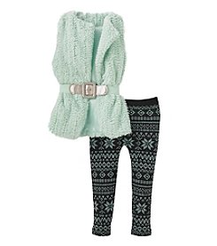 Beautees Girls' 4-7 Belted Fur Vest With Fair Isle Leggings Set