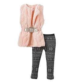 Beautees Girls' 4-16 Belted Faux Fur Vest With Fair Isle Leggings Set