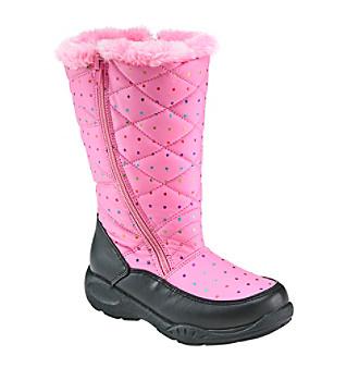 Sporto® Girls' Dot Zipper Fur Boots