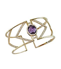 Effy® Geo Collection Pink Amethyst And Diamond Bangle In 14k Yellow Gold