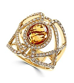Effy® Citrine And Diamond Ring In14k Yellow Gold