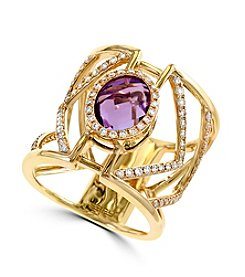 Effy® Pink Amethyst And Diamond Ring In 14k Yellow Gold