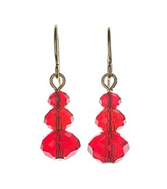 BT-Jeweled Red And Goldtone Drop Earrings