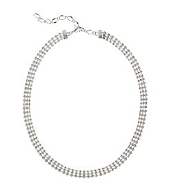 BT-Jeweled Clear and Silvertone Collar Necklace