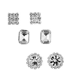 BT-Jeweled Clear and Silvertone Stud Earrings Set