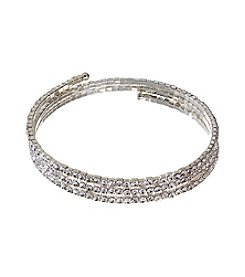 BT-Jeweled Clear and Silvertone Coil Bracelet