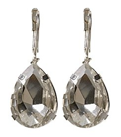 BT-Jeweled Clear and Silvertone Teardrop Earrings