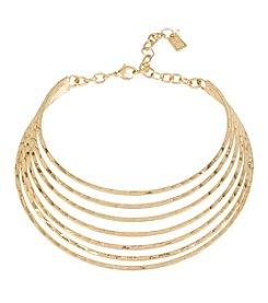Robert Lee Morris Soho™ Goldtone Hammered Textured Multi Row Collar Necklace