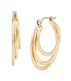 Robert Lee Morris Soho™ Goldtone Hammered Texture Multi Row Hoop Earrings