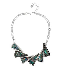 Robert Lee Morris Soho™ Silvertone Abalone Shell Faceted Stone Geometric Frontal Necklace
