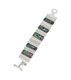 Robert Lee Morris Soho™ Silvertone Abalone Shell Faceted Stone Hammered Texture Bracelet