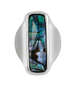 Robert Lee Morris Soho™ Silvertone Abalone Shell Faceted Stone Sculptural Ring