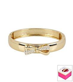 Betsey Johnson® Pave Bow Goldtone Hinged Bangle Bracelet In Gift Box