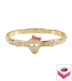 Betsey Johnson® Pave Skull Goldtone Hinged Bangle Bracelet In Gift Box