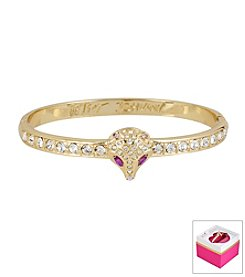 Betsey Johnson® Pave Fox Goldtone Hinged Bangle Bracelet In Gift Box