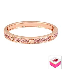 Betsey Johnson® Small Heart Pave Rose Goldtone Hinged Bangle Bracelet In Gift Box