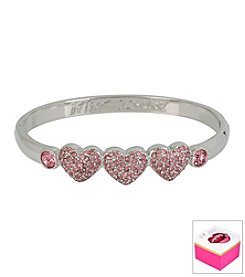 Betsey Johnson® Pave Hearts Silvertone Hinged Bangle Bracelet In Gift Box
