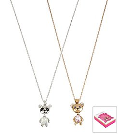 Betsey Johnson® Two Tone Panda & Bear Duo Pendant Necklace Set In Gift Box