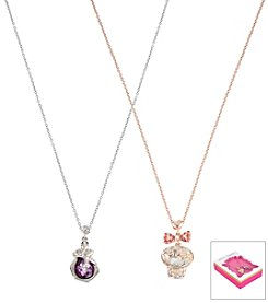 Betsey Johnson® Two Tone Skull & Snake Duo Pendant Set Necklace Set In Gift Box