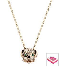 Betsey Johnson® Goldtone Pave Dog Pendant Necklace In Gift Box