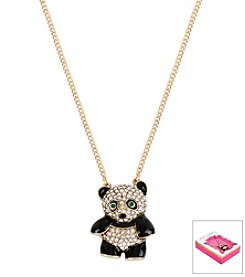 Betsey Johnson® Goldtone Pave Panda Pendant Necklace In Gift Box