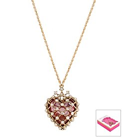 Betsey Johnson® Goldtone Heart Pendant Necklace In Gift Box