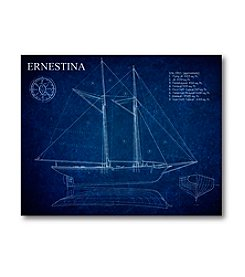 Courtside Market Blueprint Sailboat I Art