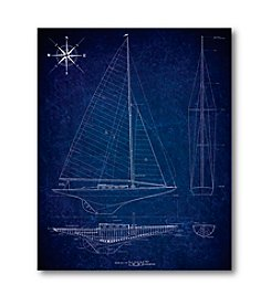 Courtside Market Blueprint Sailboat II Art
