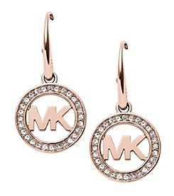 Michael Kors® Rose Goldtone Signature Pave Drop Earrings