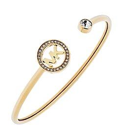 Michael Kors® Goldtone Pave MK Open Cuff Bracelet