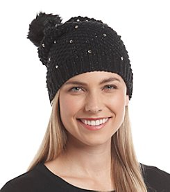 Collection 18 Rhinestone Ice Wall Beanie With Faux Fur Pom