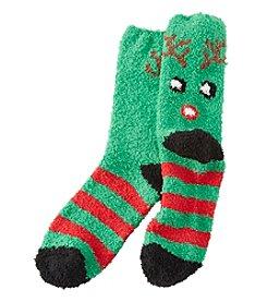 Relativity® Stripe Reindeer Slipper Socks