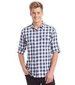 DKNY JEANS® Men's Long Sleeve Roll Tab Gingham Button Down Shirt
