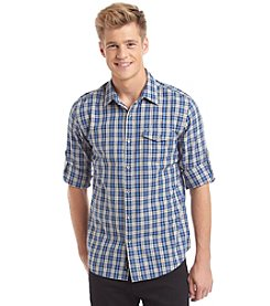 DKNY JEANS® Men's Long Sleeve Roll Tab Checker Button Down Shirt