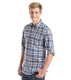 DKNY JEANS® Men's Long Sleeve Roll Tab Check Button Down