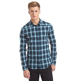 Calvin Klein Jeans Men's Long Sleeve Ombre Plaid Button Down