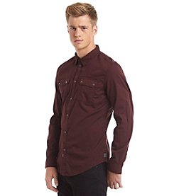 Calvin Klein Jeans Men's Long Sleeve Garment Dye Poplin Button Down