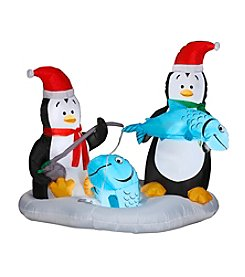 Gemmy Animated Airblown® Inflatable Penguins Ice Fishing