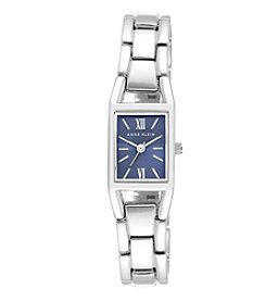 Anne Klein® Basic Silvertone Watch with Blue Sunray Dial