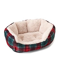 John Bartlett Pet Small Red and Green Plaid Round Cuddler Pet Bed