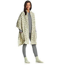 LivingQuarters Sage Leaf Reader's Wrap with Socks Gift Set