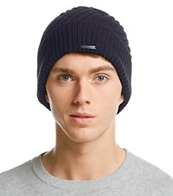 Calvin Klein Men's Geometric Ribbed Cuff Hat