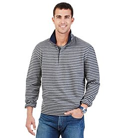 Nautica® Men's Long Sleeve Striped Quarter Zip Fleece Pullover