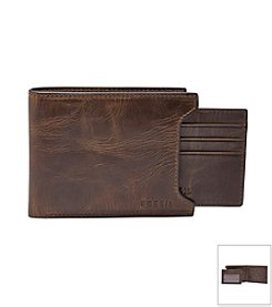 Fossil® Men's Derrick Leather 2-In-1 Bifold Wallet